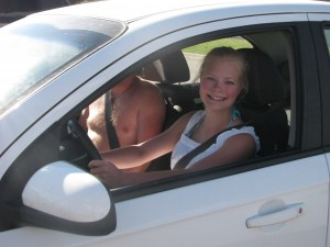 """Laura learned how to drive in one of our """"gift"""" cars. :)"""