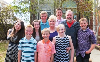 Grandma and Grandpa with 8 grandchildren this Easter.